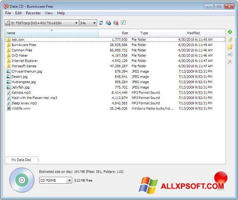Ekran görüntüsü BurnAware Free Windows XP