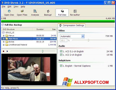 Ekran görüntüsü DVD Shrink Windows XP