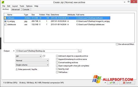 Ekran görüntüsü PeaZip Windows XP