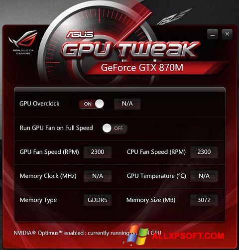 Ekran görüntüsü ASUS GPU Tweak Windows XP