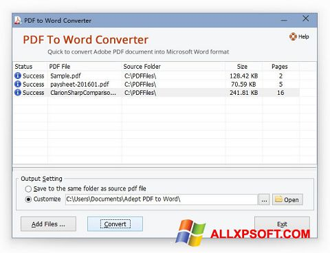 Ekran görüntüsü PDF to Word Converter Windows XP