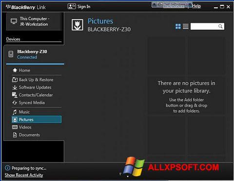 Ekran görüntüsü BlackBerry Link Windows XP
