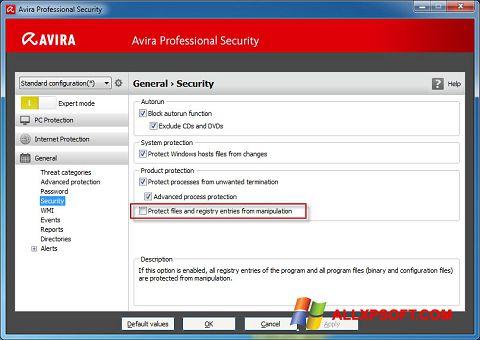 Ekran görüntüsü Avira Professional Security Windows XP