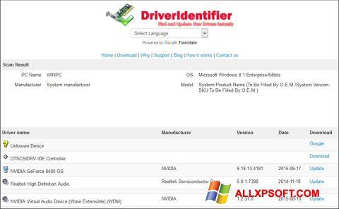 Ekran görüntüsü Driver Identifier Windows XP