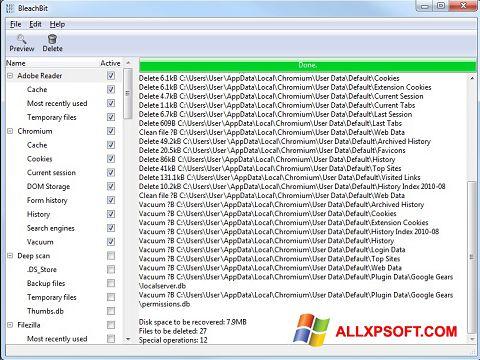 Ekran görüntüsü BleachBit Windows XP