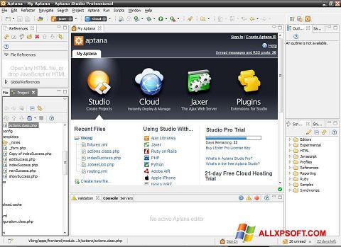 Ekran görüntüsü Aptana Studio Windows XP