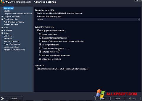 Ekran görüntüsü AVG Windows XP