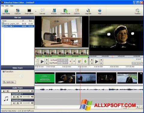 Ekran görüntüsü VideoPad Video Editor Windows XP