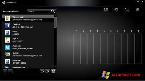 Ekran görüntüsü HP SimplePass Windows XP