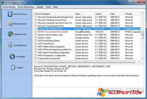 Ekran görüntüsü Driver Magician Windows XP