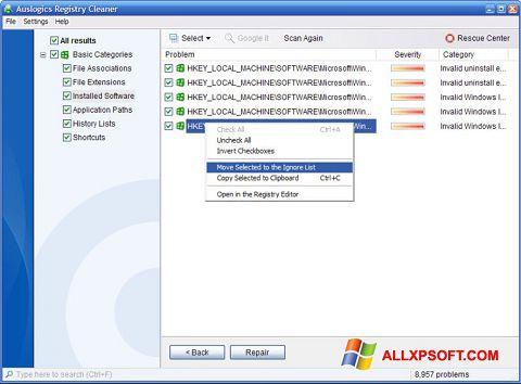 Ekran görüntüsü Auslogics Registry Cleaner Windows XP