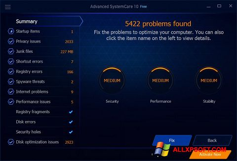 Ekran görüntüsü Advanced SystemCare Free Windows XP