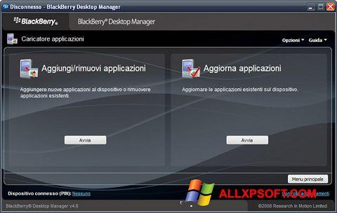 Ekran görüntüsü BlackBerry Desktop Manager Windows XP